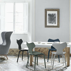 Grand Prix Chairs with Wood Legs in Room with Analog Table and Ro Chair Jaime Hayon Arne Jacobsen Fritz Hansen