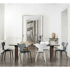 Grand Prix Chairs with Wood Legs in Room with Analog Table Arne Jacobsen Fritz Hansen