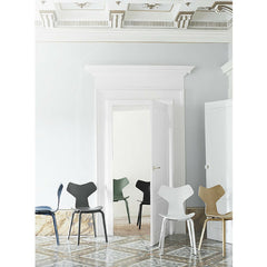 Grand Prix Chairs with Wood Legs in Room with Tiled Floor Arne Jacobsen Fritz Hansen