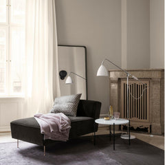 Greta M. Grossman Modern Line Chaise Lounge Sofa with Bestlight Floor Lamp, TS Table, and Adnet Rectangulaire Mirror by GUBI