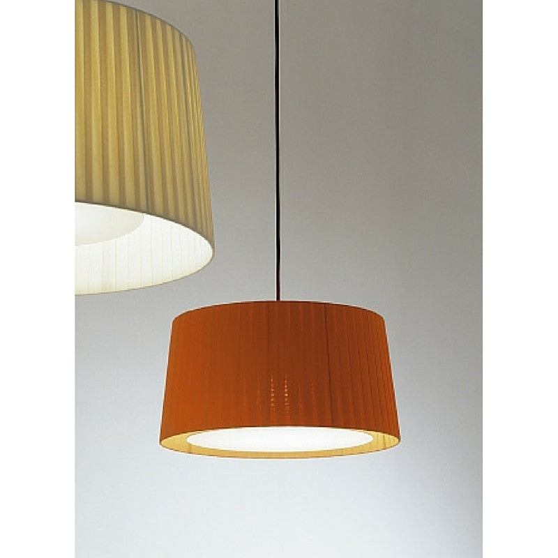 Santa & Cole GT6 Suspension Lamps with Terracotta and Natural Ribbon Shades