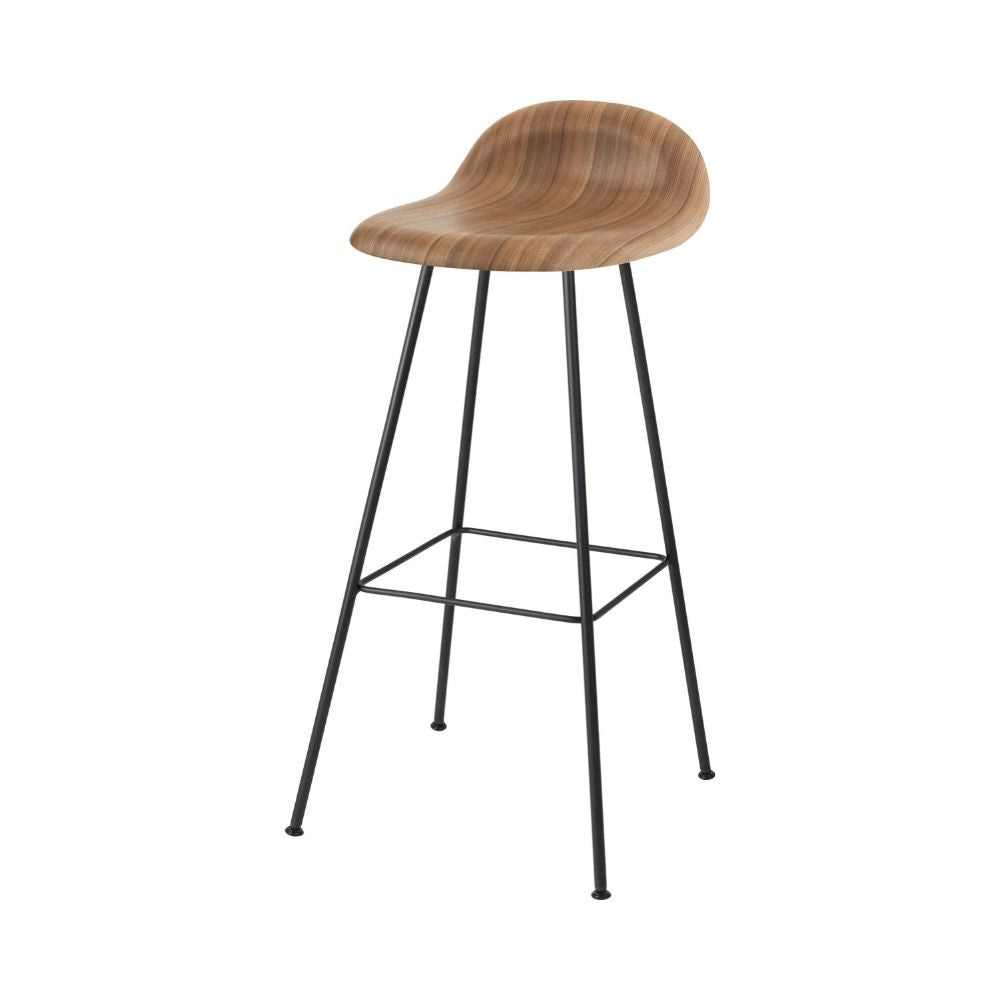GUBI 3D Barstool with Walnut Seat and Conic Base