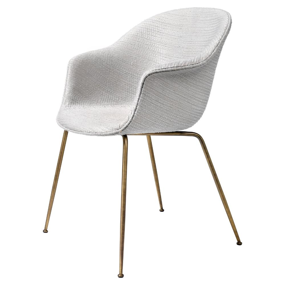 GUBI Bat Dining Chair with Antique Brass Legs Dedar Patchwork 001 Fully Upholstered GamFratesi