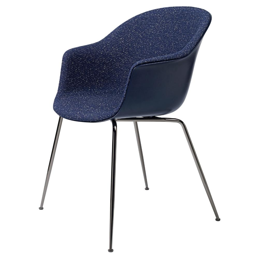 GUBI Bat Dining Chair Black Chrome Legs Blueberry Pilot 792 Kvadrat Upholstery GamFratesi
