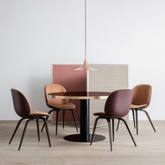 Gubi Copper Semi Pendant in Office with Beetle Chairs