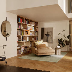 GUBI IOI Mirror by Gam Fratesi in Living Room with Flaneur Chaise
