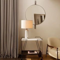 GUBI IOI Mirror by Gam Fratesi with Gravity Table Lamp, Mategot Trolley, and Sejour Lounge Chair