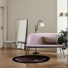 GUBI Gio Ponti F.A.33 Mirror Blackened Brass in room with Beetle Sofa and Bestlite Floor Lamp