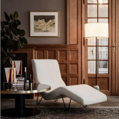 GMG Chaise Lounge in room with Space Copenhagen Gravity Floor Lamp