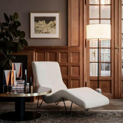 GUBI Gravity Floor Lamp by Space Copenhagen in room with GMG Chaise Lounge