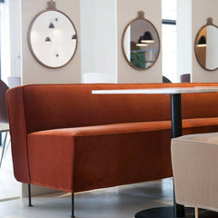 GUBI Greta Grossman Modern Line Sofa Dining Height in Showroom with Randaccio Mirrors