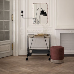 GUBI Mategot Trolley with Pouffe and Bestlite Sconce