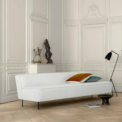 GUBI Modern Line Sofa by Greta Grossman in Room with Grasshopper Lamp