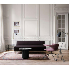 GUBI Modern Line Sofa by Greta Grossman in Room with Masculo Chair and Grasshopper Lamp
