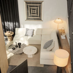 GUBI Paavo Tynell Floor Lamp in living room with Wonder Sofa and Epic Coffee Tables