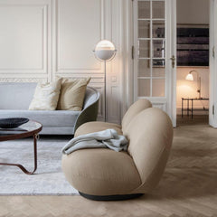GUBI Pacha Lounge Chairs by Pierre Paulin in living room with Revers Sofa