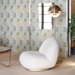 GUBI Pacha Lounge Chair by Pierre Paulin with Gio Ponti Mirror Multi Lite Floor Lamp and Adnet Coffee Table