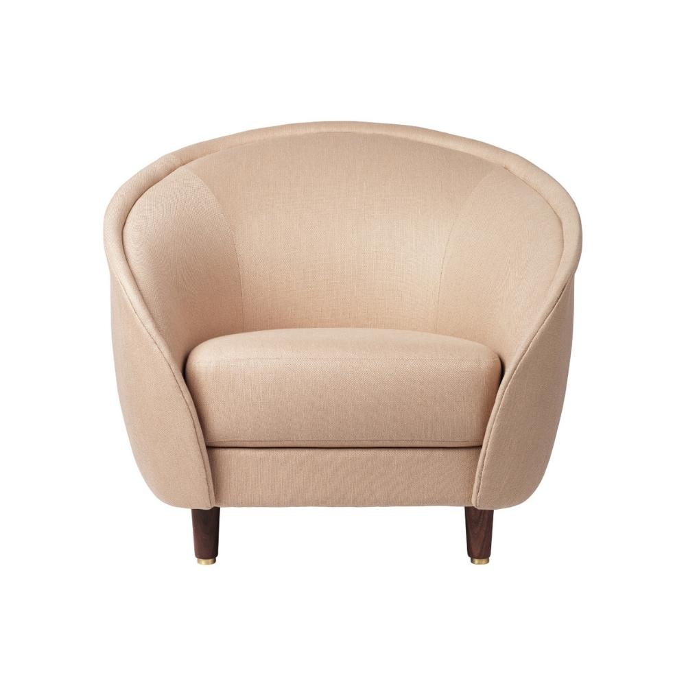 GUBI Revers Lounge Chair with Walnut Legs and Dedar Sinequanon 029 Crema Upholstrey