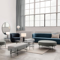 GUBI Multi Lite Floor Lamp in Loft with Stay Sofa and Chair, and TS Ottoman Collection