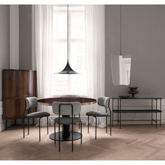Gubi Black Semi Pendant in Room with Coco Dining Chairs and TS Console