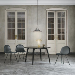 Gubi Semi Pendant in Anthracite Grey in Room with 2D Chairs by Komplot Design