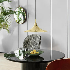 Gubi Brass Semi Pendant in Dining Room with Beetle Chairs