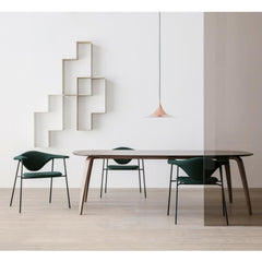 Gubi Copper Semi Pendant in Room with Masculo Chairs