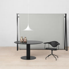 Gubi White Semi Pendant in office with black Masculo Chair