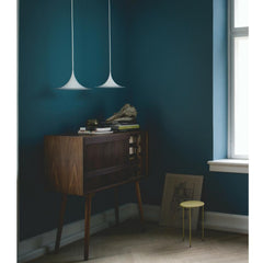 Gubi Semi Pendants in White over Midcentury Sideboard