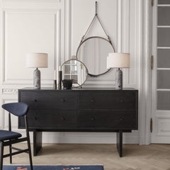 GUBI Gravity Table Lamps by Space Copenhagen in room with Gent Sideboard and Adnet Mirrors