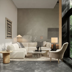 GUBI Wonder Sofa by Space Copenhagen in living room with Adamo Lounge Chair