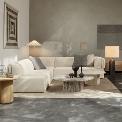 GUBI Wonder Sofa by Space Copenhagen in living room with Paavo Tynell Floor Lamp