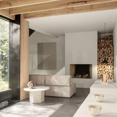 GUBI Wonder Sofa by Space Copenhagen in living room with Epic Coffee Table and Stacked Firewood