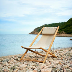Skargaarden H55 Sun Lounger on Beach Beige Sunbrella and Teak