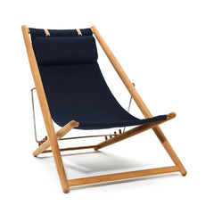 Skargaarden H-55 Sun Lounge Chair with Navy Blue Sunbrella Fabric