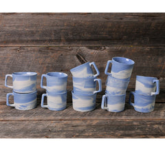 Haand Cloudware Mugs Stacked on Board