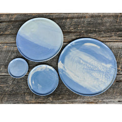 Haand Cloudware Ripple Plates Set of 4 on Table