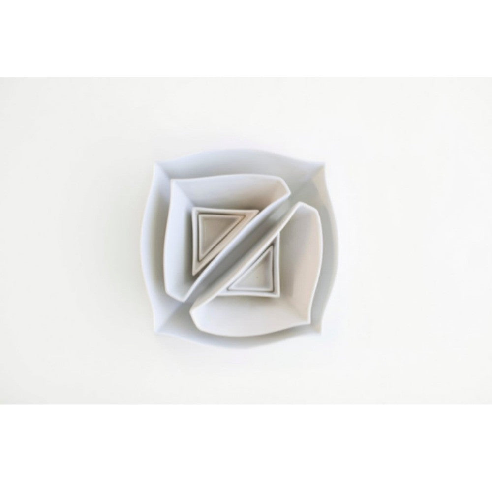 Haand Square and Triangles Nesting Set White Slip Cast Porcelain Aerial View