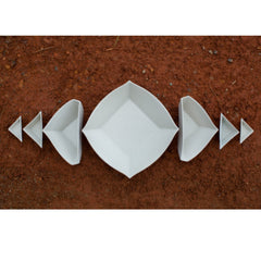 Haand Square and Triangles Nesting Set White Slip Cast Porcelain on Ground
