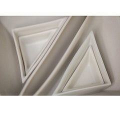 Haand Square and Triangles Nesting Set White Slip Cast Porcelain Triangles Closeup