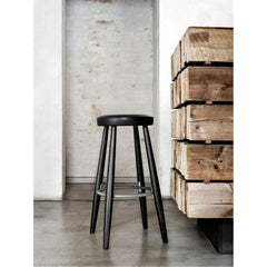 Hans Wegner Bar Stool Black Leather Black Lacquer Carl Hansen & Son