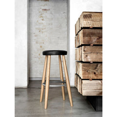 Hans Wegner Barstool Black Leather Oak Stainless Steel Carl Hansen & Son