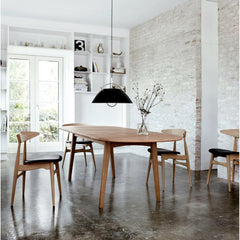 Hans Wegner CH006 Drop-leaf Dining Table in Oak Oil with CH33 Dining Chair for Carl Hansen & Søn and Pandul Pendant Light