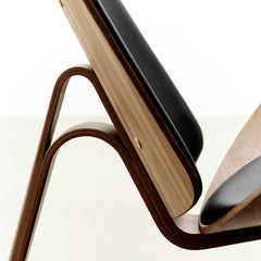 Hans Wegner Shell Chair CH07 Black Leather Oak Side Detail Carl Hansen & Son
