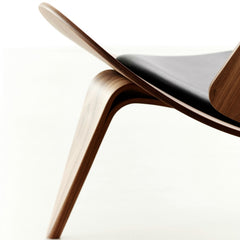 Hans Wegner Shell Chair CH07 Black Leather Walnut Side Detail Carl Hansen & Son