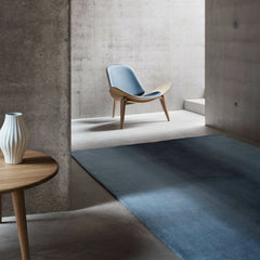 Wegner Shell Chair Blue and Oak in room with CH008 Carl Hansen and Son