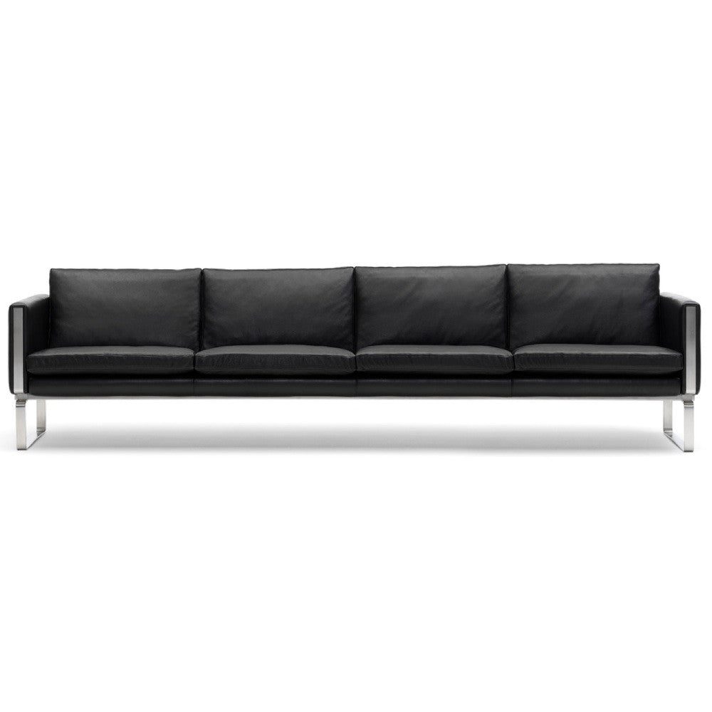 Hans Wegner CH104 Black Leather Sofa Carl Hansen & Son