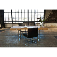 Hans Wegner CH111 Office Chair Black Leather Stainless Steel in room back Carl Hansen & Son