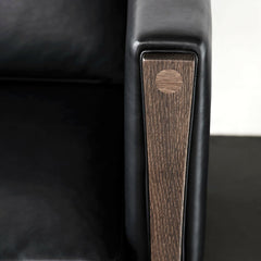 Hans Wegner CH162 Loveseat Armrest Closeup with Black SIF Leather by Carl Hansen & Søn