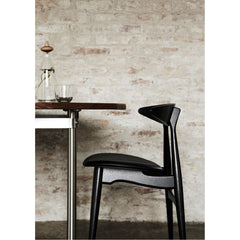 Wegner CH33 Chair Black Lacquered Frame with Black Leather Seat in Restaurant Carl Hansen & Son